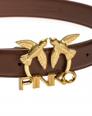 Pinko Μαλακή δερμάτινη ζώνη με μεταλλική αγκράφα Love Birds