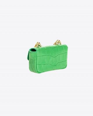 Pinko Δερμάτινη τσάντα με croc-effect σε Πράσινο χρώμα