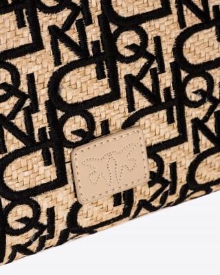 Pinko Classic Love Bag Puff rafia με κεντημένο λογότυπο