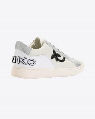 Pinko Επίπεδα Δερματινα sneakers με ασημί glitter